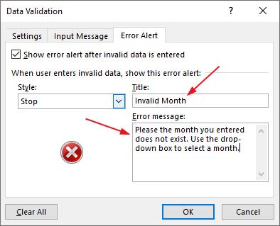 Excel drop down list