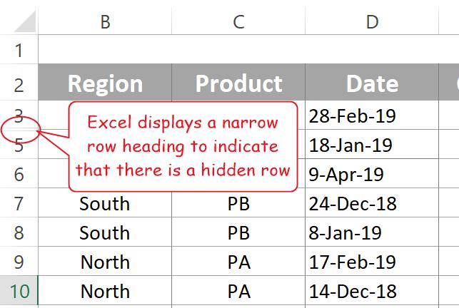 Hide and unhide rows in Excel