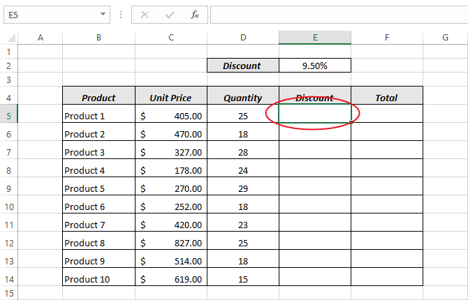 Lock cells in Excel formula (make cell constant))