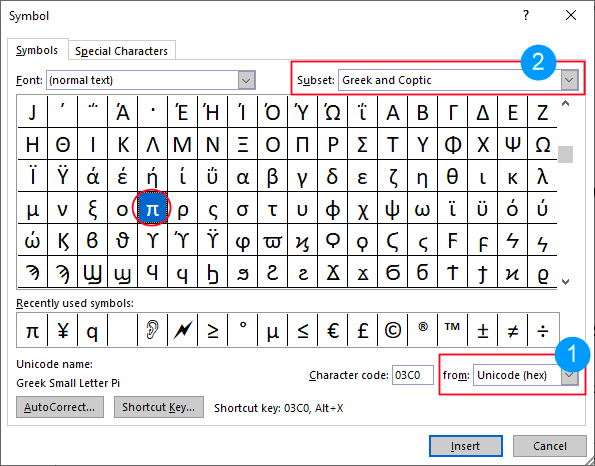 Search for the Pi symbol in Word