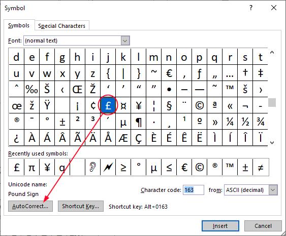 Pound symbol in Word