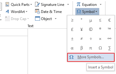 Click on More Symbol from the drop-down