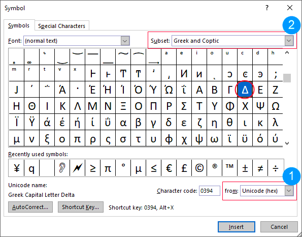 Search for the symbol form the Symbols Dialog