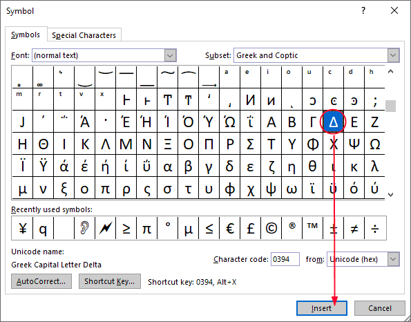 Select the symbol and click Insert