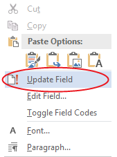 Right-click inside TOC and select Update Field