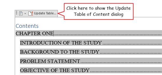 Update Table above the TOC object