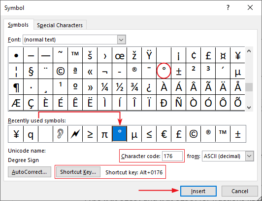 Select the degree symbol and click Insert