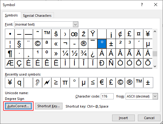 Setting degree symbol AutoCorrect