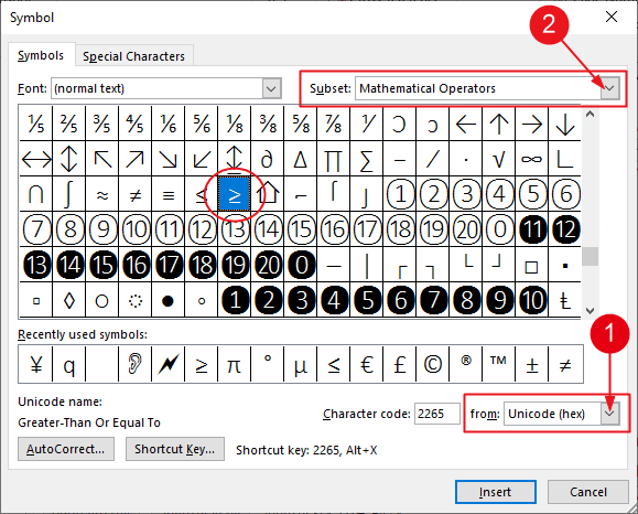 Select symbol from the symbols Dialog