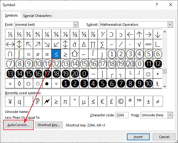 Setting the Symbol's AutoCorrect