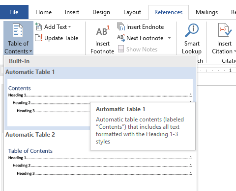 Go to Reference>Table of Contents>Automatic Table 1