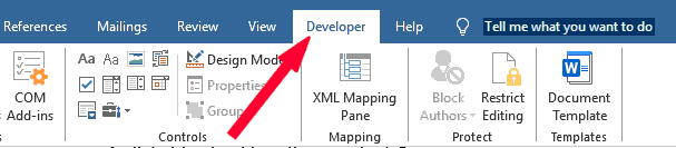 Check and see whether the Developer tab is active