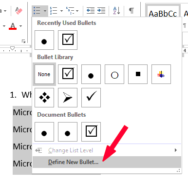 Click on the Define New Bullet option