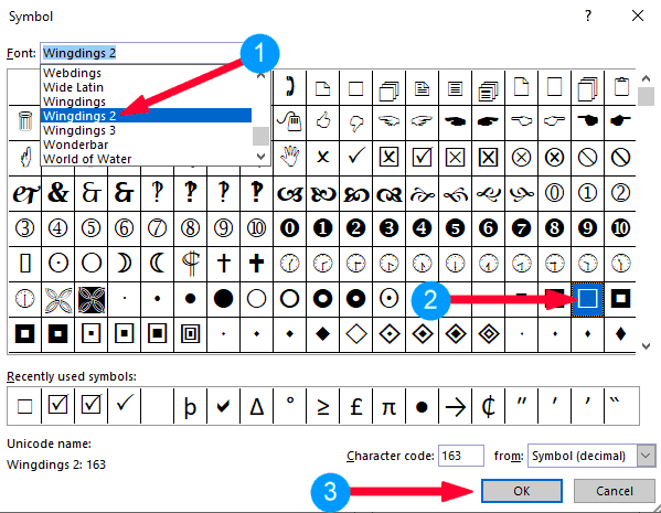 Select the Webdings 2 font and click on the checkmark symbol