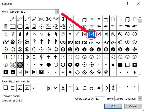 check mark symbol in a checkbox