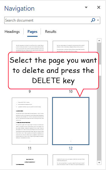 Select the blank page and press the Delete key