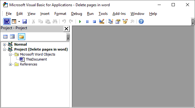 Press Alt+F11 to display the VBA editor