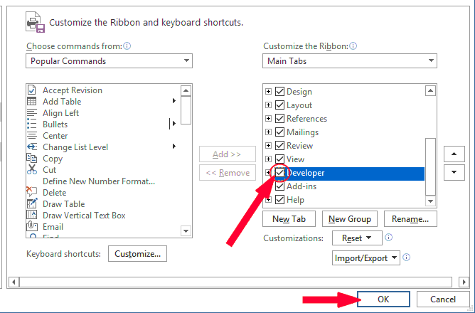 Check the Developer checkbox - This will show the Developer Tab in Word