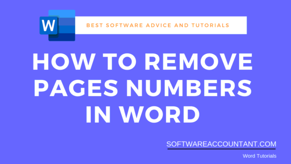 Remove page numbers in Word