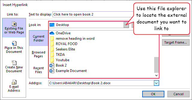 Select the document you want to link to
