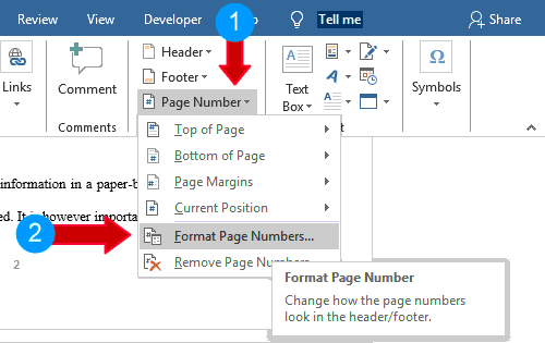 Go to Page Number>Format Page Numbers