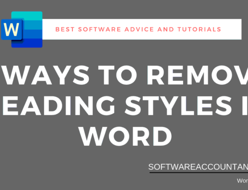 How to Remove Header and Heading styles in Word