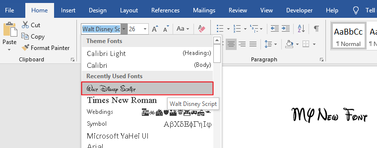 Fonts in Word
