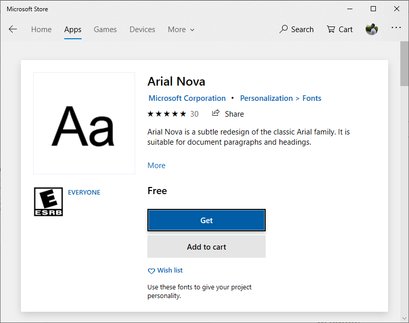 Click on Get to Download fonts for Word