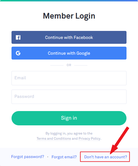 Enter email and pasword to login