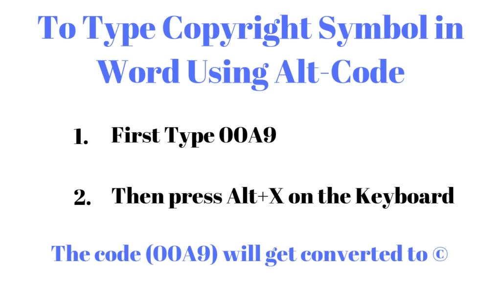 Copyright Symbol Alt Code