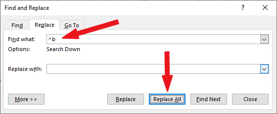 How to remove all section break in word