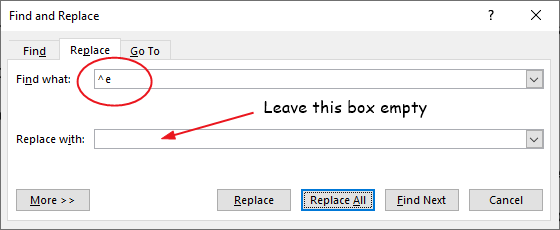 type ^e in the replace what box to remove all endnotes