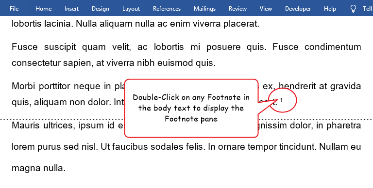 Double click on any footnote mark in the body text