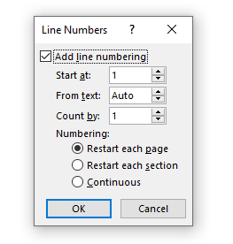 Line Numbers dialog