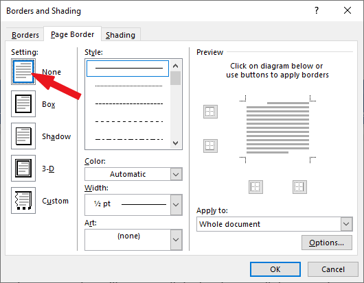 How to remove borders in Word