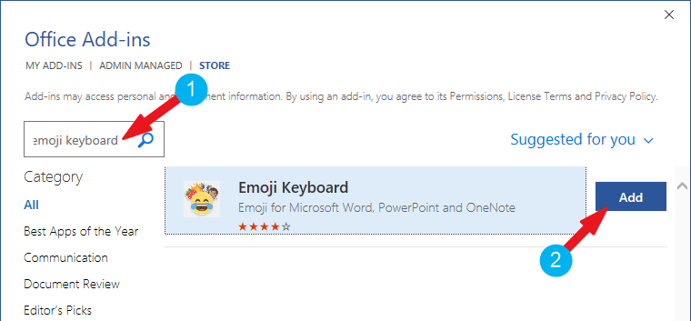Add Emoji in Word - Click on the Add button