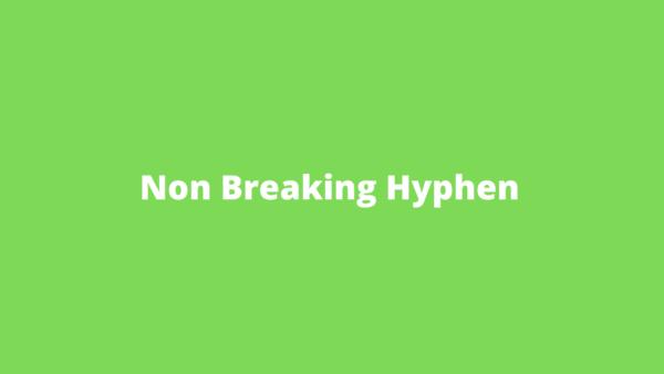non breaking hyphen in Word