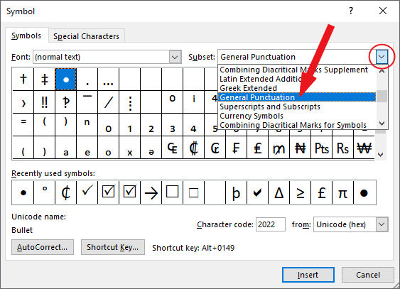 Locate the bullet point symbol from the library of symbols