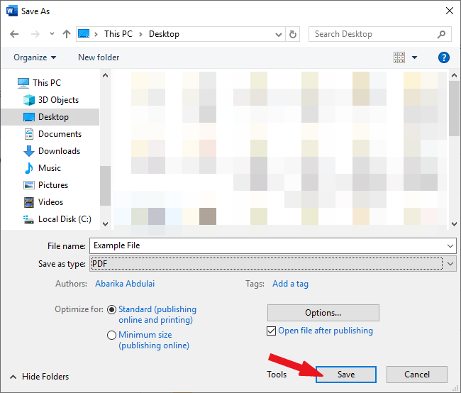 Click on the save button to save Word as PDF