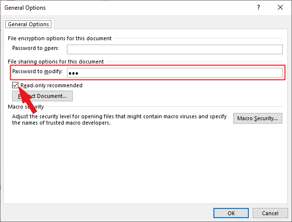 Enter password in the Pasword to modify text box