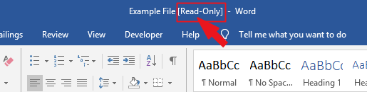 the Word document will now open in read-only mode