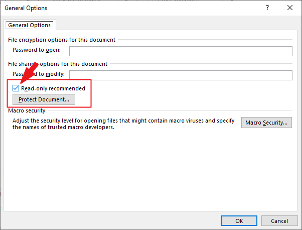 From the General Option dialog, check Read Only recomended