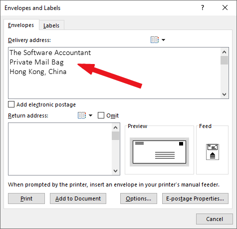 Type the recipient address in the Delivery Address box