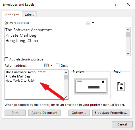 type in your delivery address into the delivery address box - how to print envelope in Word