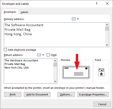 What size is the envelope you want to print? - double-click the review button to set the size.