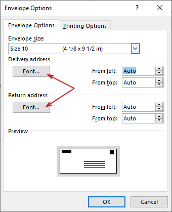 Click on the fonts buttons to format the addresses