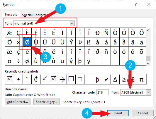 Go to Insert>Symbols and search for the diameter symbol in the symbols dialog box.