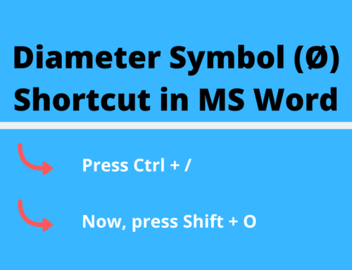 Typing Diameter Symbol [Ø] in Word/Excel – slash O
