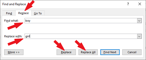 Press ctrl+H shortcut for the Find and Replace dialog box