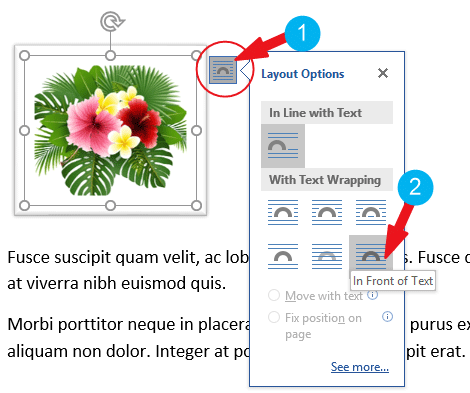 how to move picture in Word